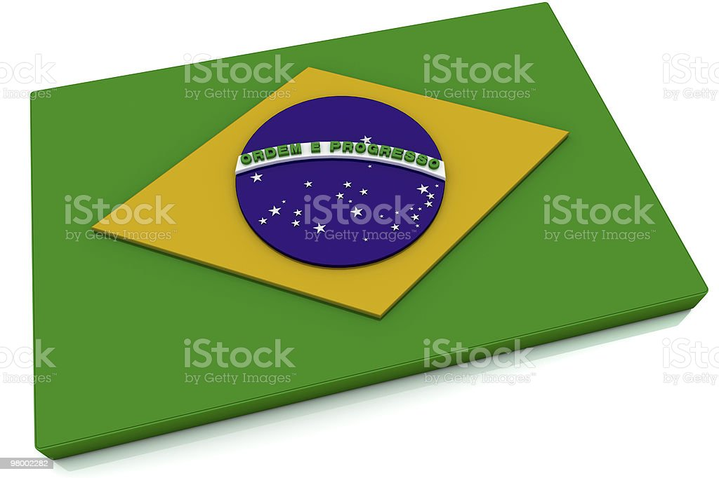 3D Brazil Flag Button royalty free stockfoto
