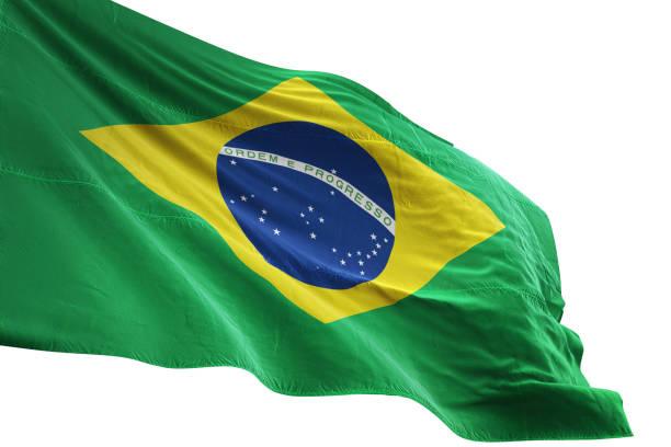 brasilien flagge nahaufnahme wehenden weißen hintergrund isolierten - freistaat stock-fotos und bilder