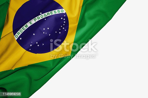 Brazil flag of fabric with copyspace for your text on white background