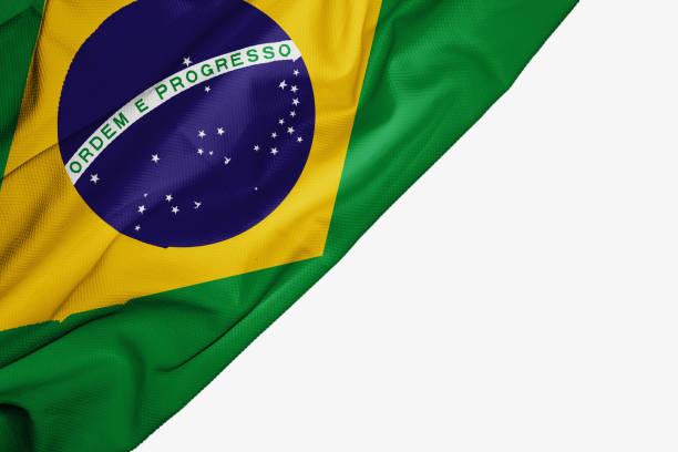 brazilië vlag van stof met copyspace voor uw tekst op witte achtergrond - brazilië stockfoto's en -beelden