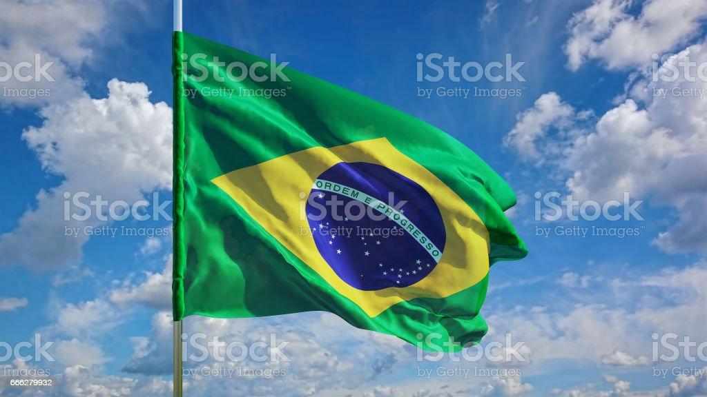 Bandeira do Brasil em um fundo de céu. Renderização 3D - foto de acervo