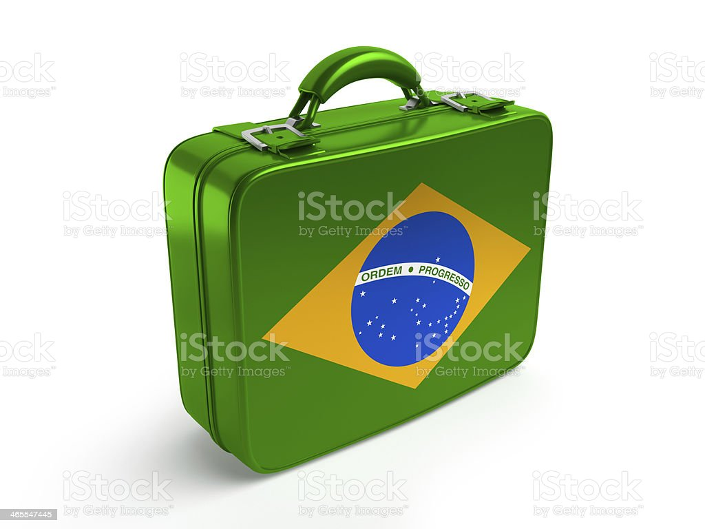 Brazil flag on suitcase stock photo