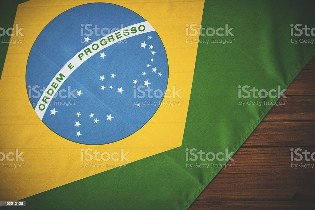 brazil flag on vintage wood royalty-free stock photo