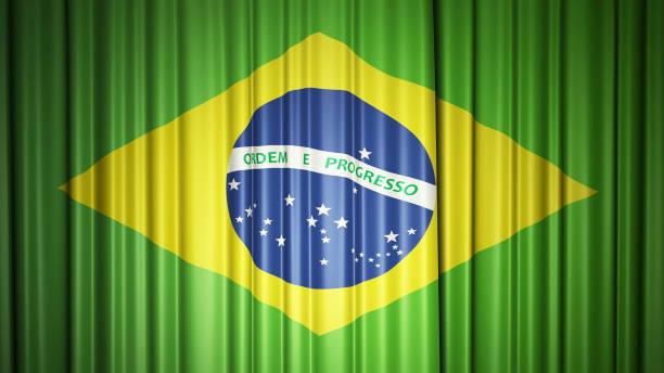 Brasilien fliegt Seidenvorhang auf der Bühne. 3D-Illustration – Foto