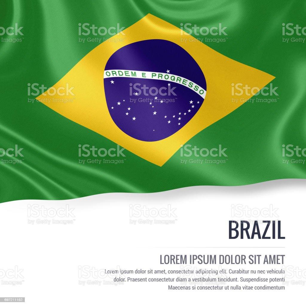Bandeira do Brasil. Seda bandeira do Brasil acenando em um fundo branco isolado com a área de texto em branco para sua mensagem de anúncio. Renderização 3D. - foto de acervo
