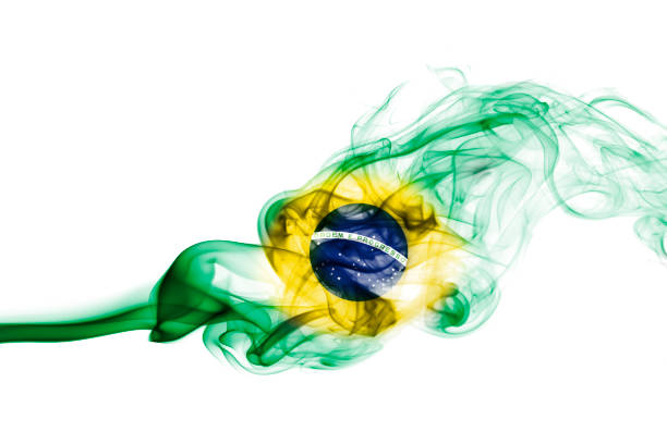 Brazil flag smoke stock photo