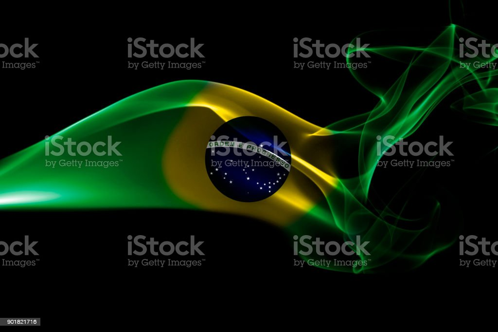 Brazil flag smoke stock photo