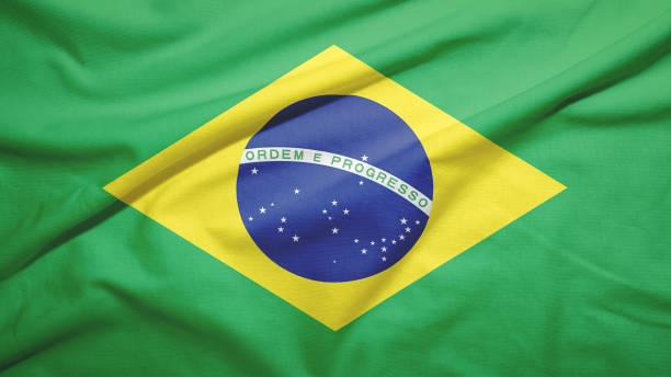 Brazil flag with fabric texture stock photo