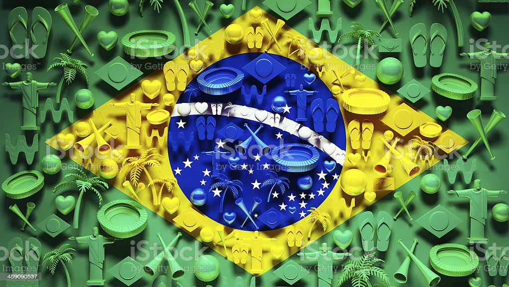 Brazil Flag with Icons. stock photo