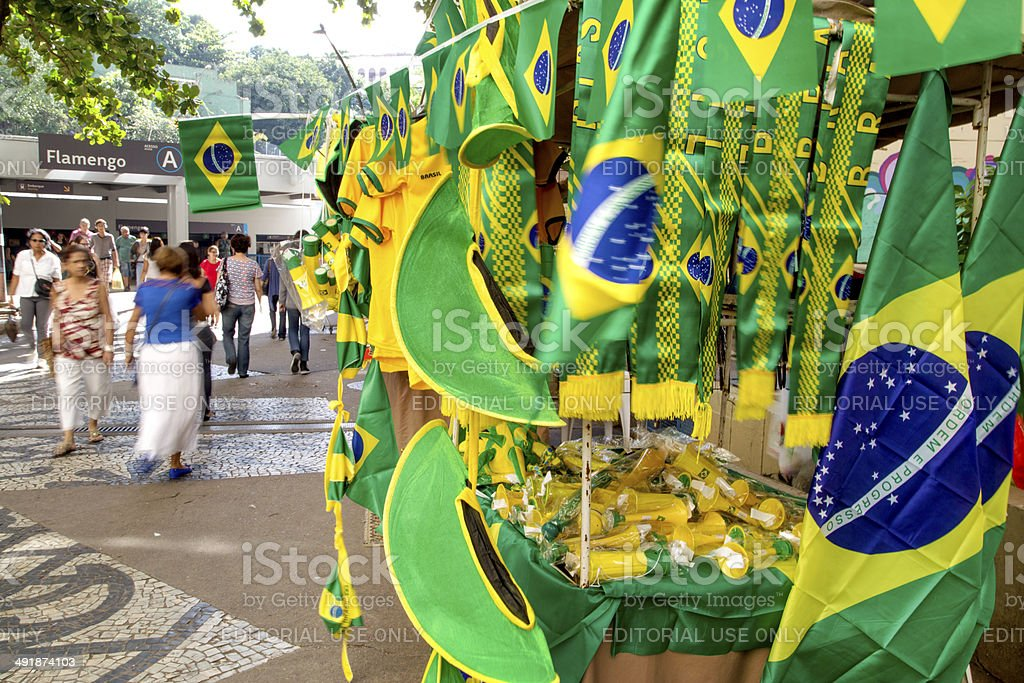 Brazil flags, cornets, hats and shirts for sale royalty-free stock photo