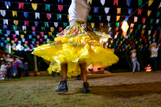 Brazil Folk: Festa Junina, Quadrilha Rio das Flores (Rio de Janeiro), Brazil - June 17, 2017: People of Quadrille dance during a Saint John celebrations in the city of Rio das Flores, southeastern of Brazil. The Quadrilha or Quadrille is a popular  tradition in Brazil, and occurs in the winter months, June and July. The Quadrille is a Dutch dance with Portuguese and English influence. st. anthony of padua stock pictures, royalty-free photos & images