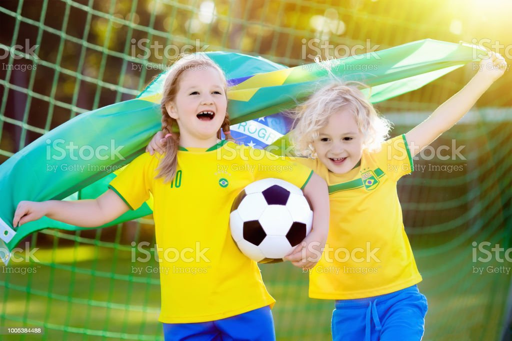 Should Kids Be Allowed To Play Soccer >> Brazil Football Fan Kids Children Play Soccer Stock Photo More