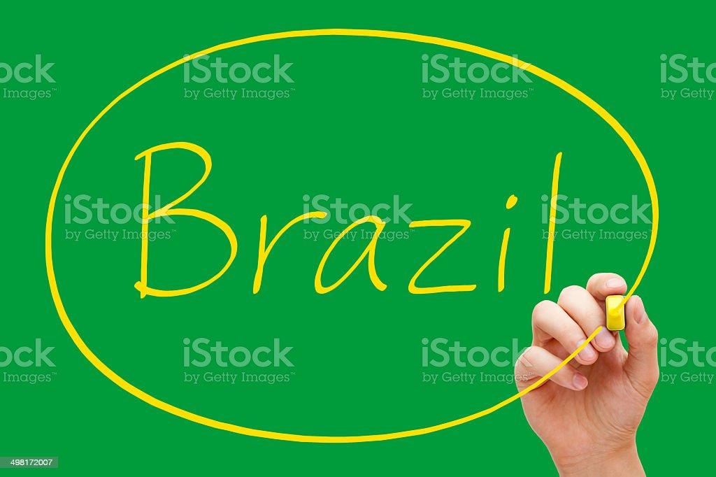 Brazil Handwriting Yellow Marker royalty-free stock photo