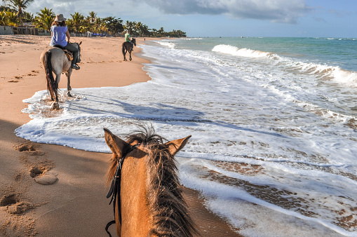 Horseback riding on the beaches in Bahia in Brazil. The beaches there are wild and isolated.