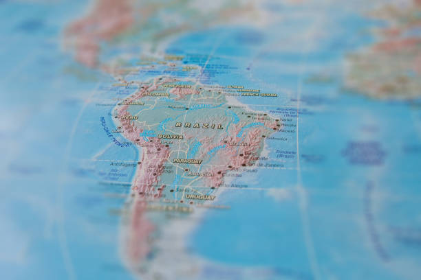 Brazil in close up on the map. Focus on the name of country. Vignetting effect Brazil in close up on the map. Focus on the name of country. Vignetting effect. latin america map stock pictures, royalty-free photos & images