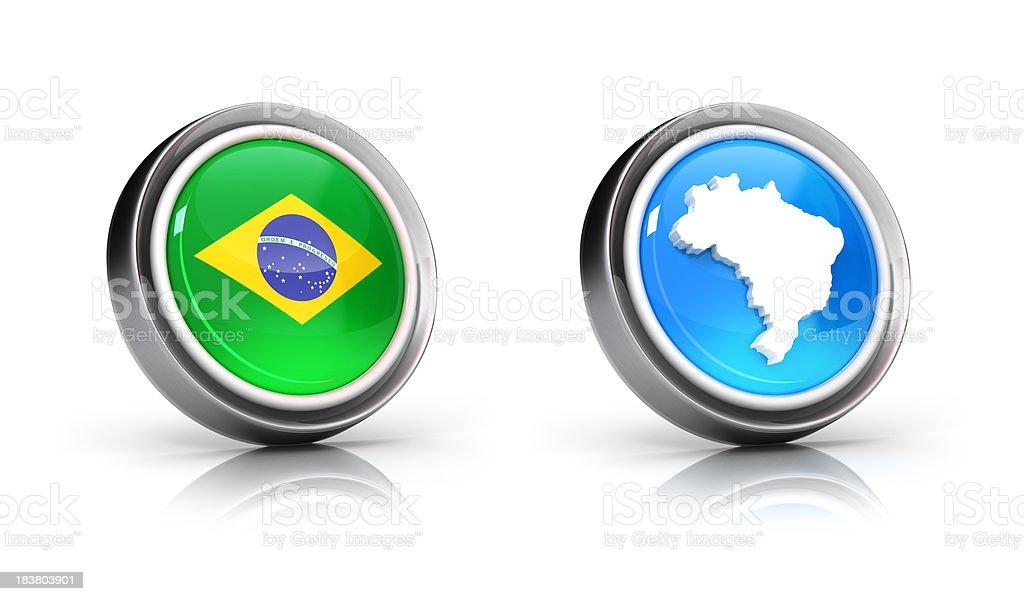 O mapa e a bandeira do Brasil ícones - foto de acervo