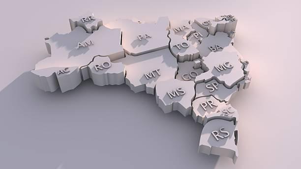 3 D mapa 3D com membros do Brasil - foto de acervo
