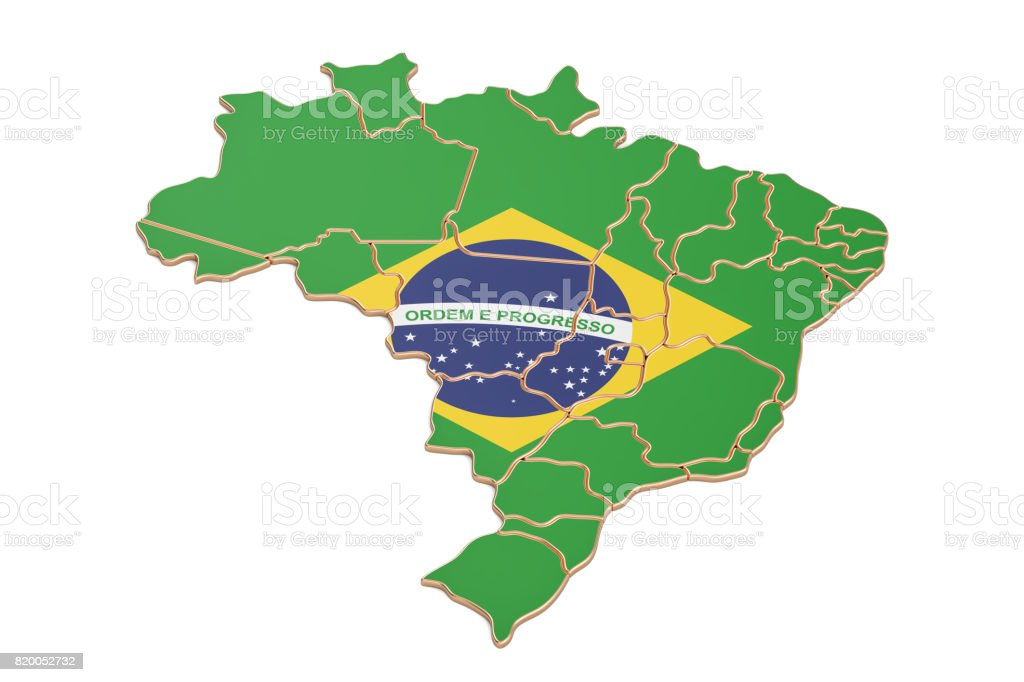 Brazil map closeup, 3D rendering isolated on white background - fotografia de stock