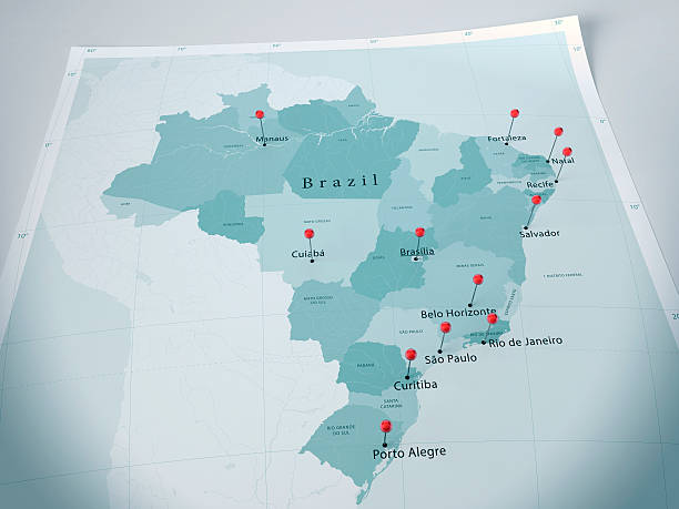Brasil mapa Curl cidades selecionadas Alfinete - foto de acervo