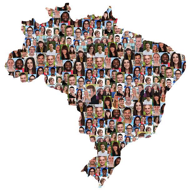 Brasil mapa multicultural grupo de jovens de integração - foto de acervo