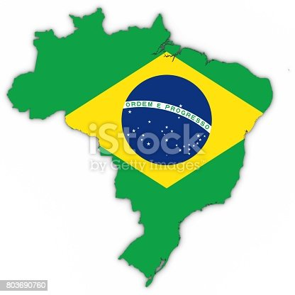 Brazil Map Outline With Brazilian Flag On White With Shadows 3d