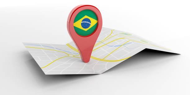 brasilien karta pekaren på vit bakgrund. 3d illustration - mänsklig bosättning bildbanksfoton och bilder