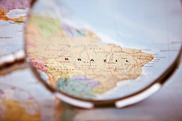 Brazil Map, selective focus stock photo