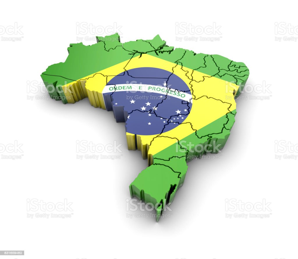 Brazil map with flag and shadow on white background. 3D rendering. - fotografia de stock
