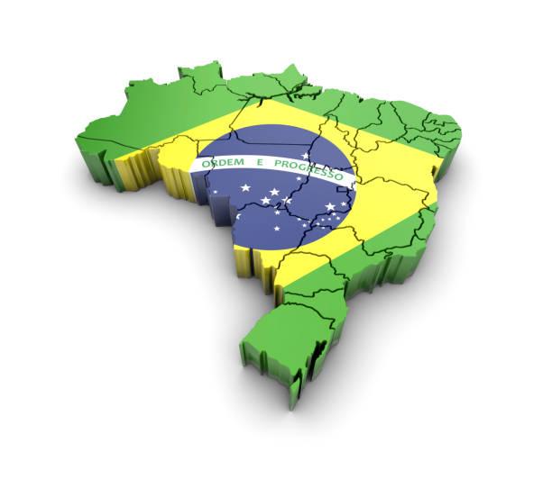 Mapa do Brasil com a bandeira e a sombra no fundo branco. Renderização 3D. - foto de acervo