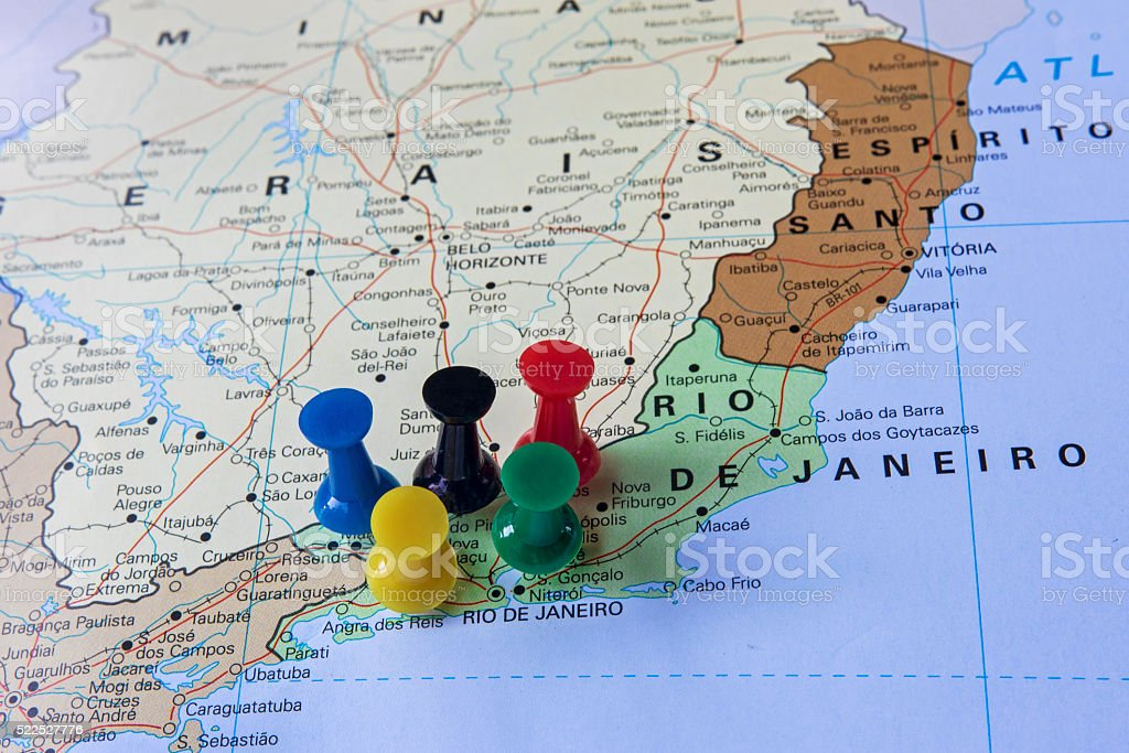 Rio De Janeiro Karte.Brasilien Karte Mit Pushpins Zeigt Nach Rio De Janeiro