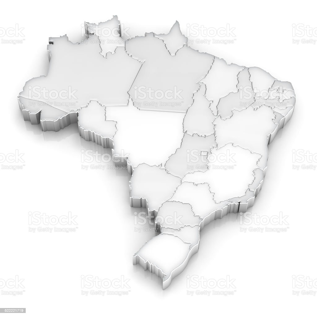Brazil map with states light gray 3d on white stock photo