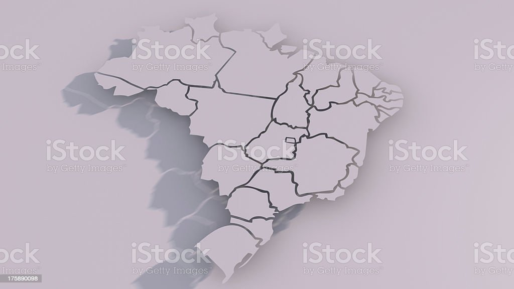 Brazil map with states stock photo