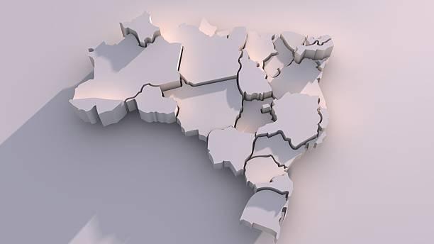 бразилия карта с государствами - бразилия стоковые фото и изображения