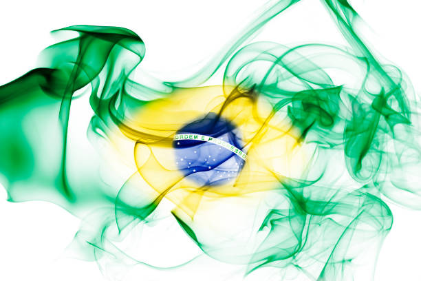 Brazil national smoke flag stock photo
