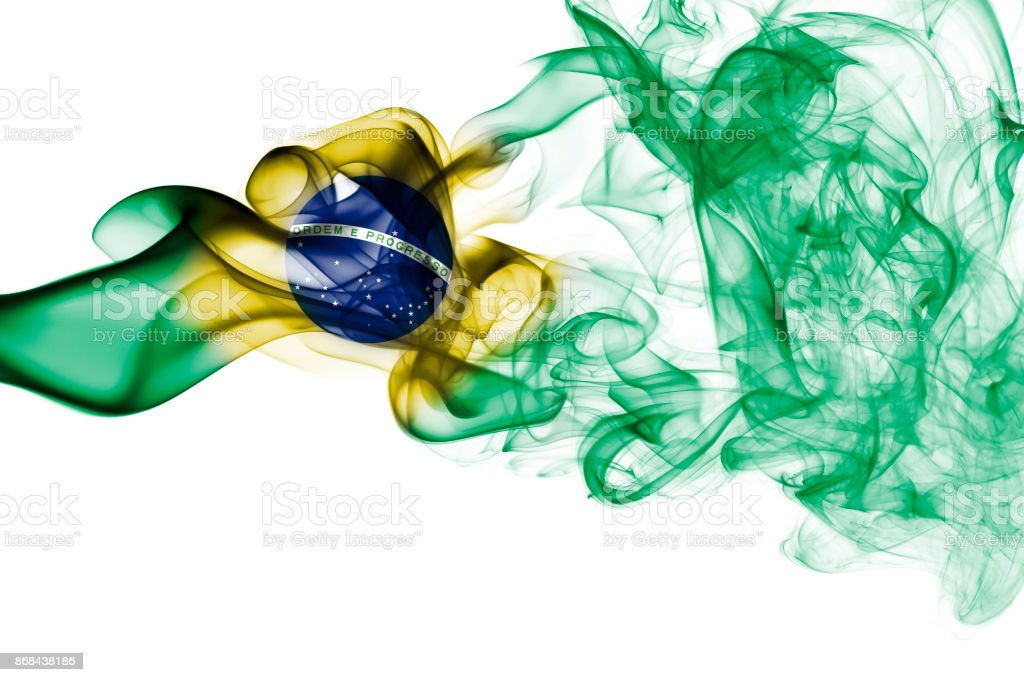 Brazil national smoke flag stock photo