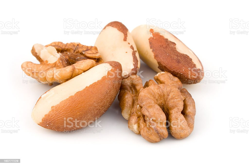 Brazil nuts and Wallnuts royalty-free stock photo