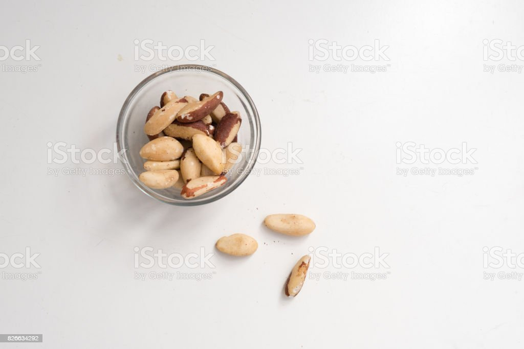 Brazil nuts from above stock photo