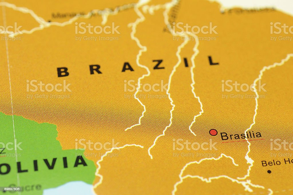 Brazil on map royalty-free stock photo