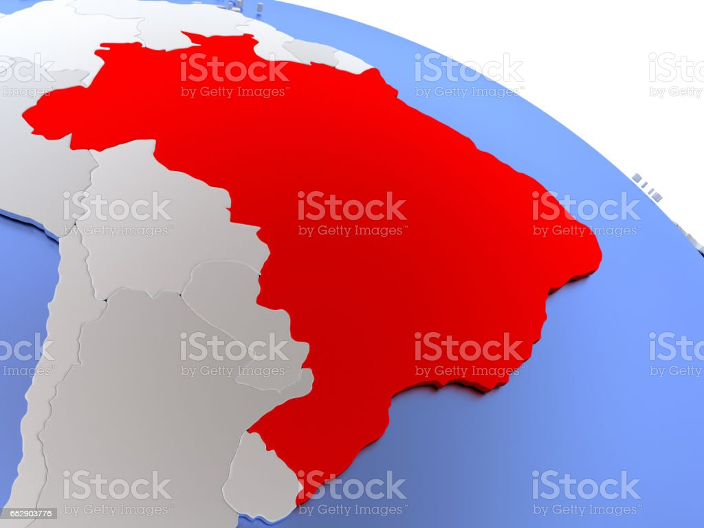 Brazil On World Map Stock Photo More Pictures Of Brasilia Istock