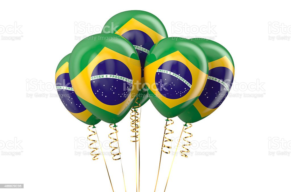 Brazil patriotic balloons,  holyday concept stock photo