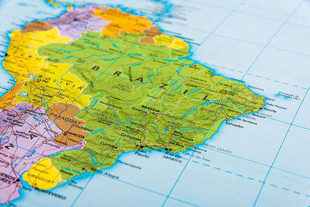 Brazil The continent of South America latin america map stock pictures, royalty-free photos & images