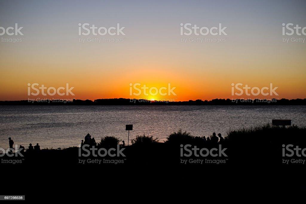 Brazil Porto Alegre Sunset Sea Silhouette stock photo