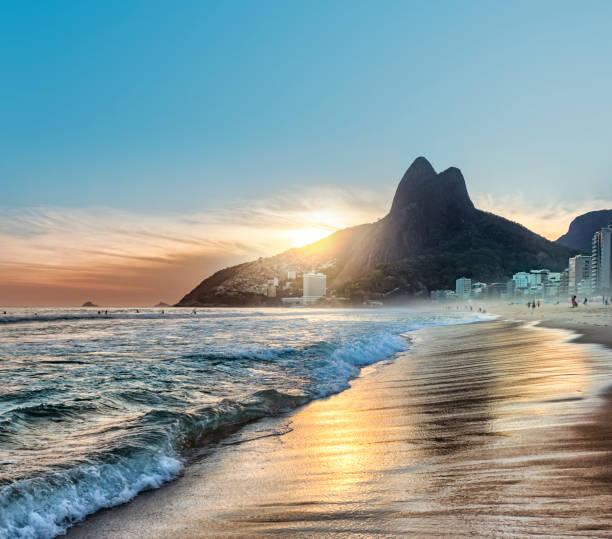 Brazil Rio de Janeiro Ipanema beach at sunset stock photo