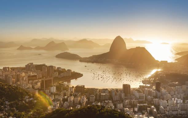 Brazil Rio de Janeiro Sugar Loaf with Guanabara Bay at sunrise stock photo