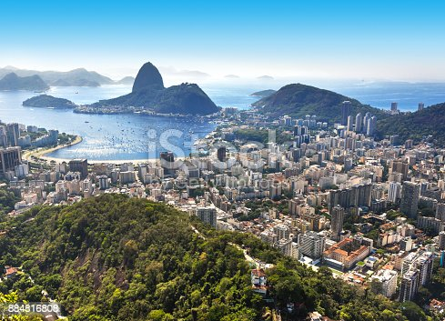 Panoramic view of Rio de Janeiro with Sugarloaf and Guanabara Bay in summer seen from Mirante Dona Marta