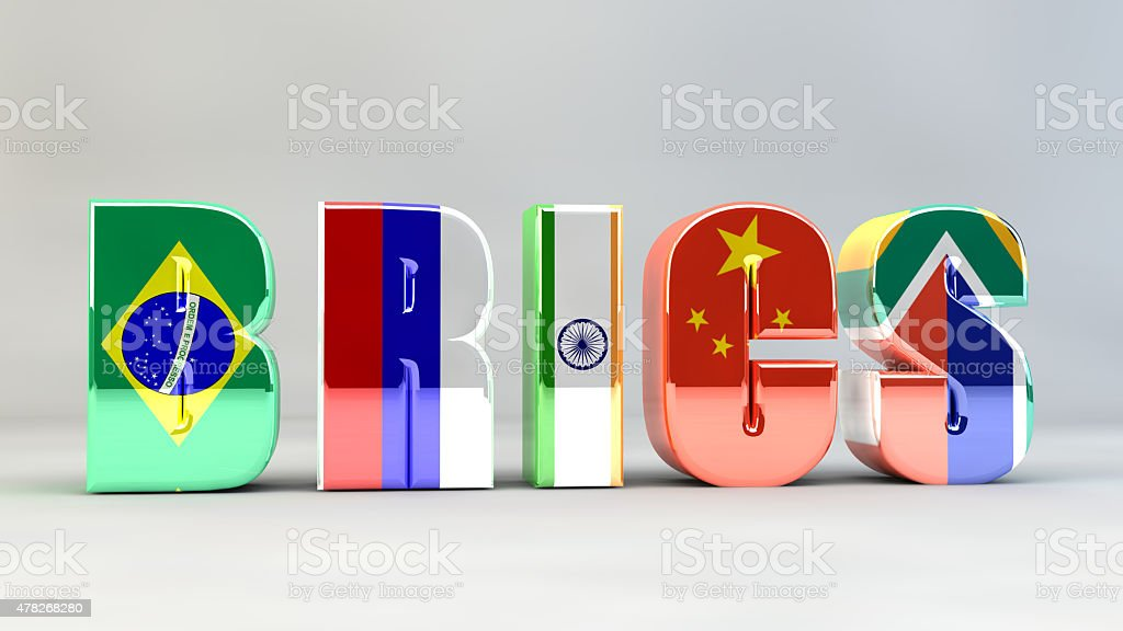 BRICS Brazil Russia India China South Africa stock photo