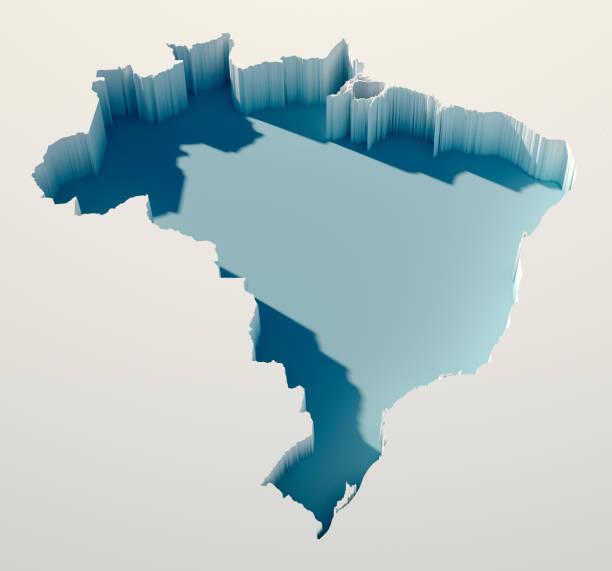 Brazil Simple Intrusion Map 3D Render stock photo