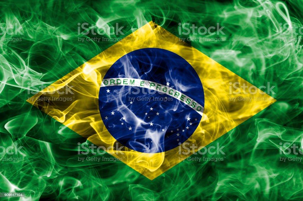 Brazil smoke flag stock photo