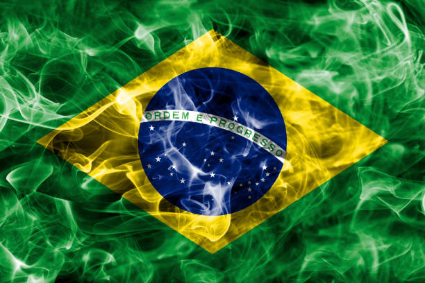 Brazil smoke flag stock photo