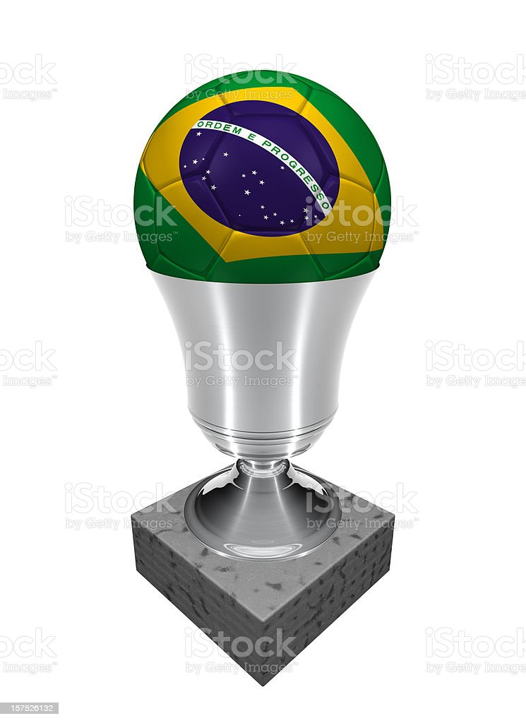 brazil soccer ball in a trophy royalty-free stock photo